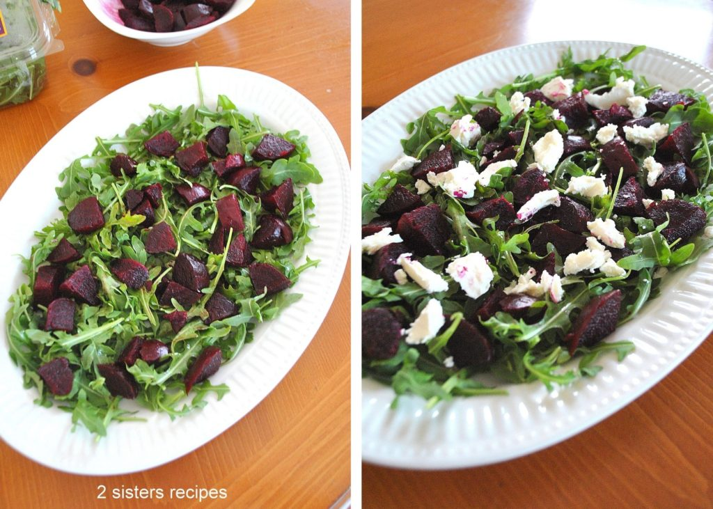 photo of arugula and beets in a platter by 2sistersrecipes.com