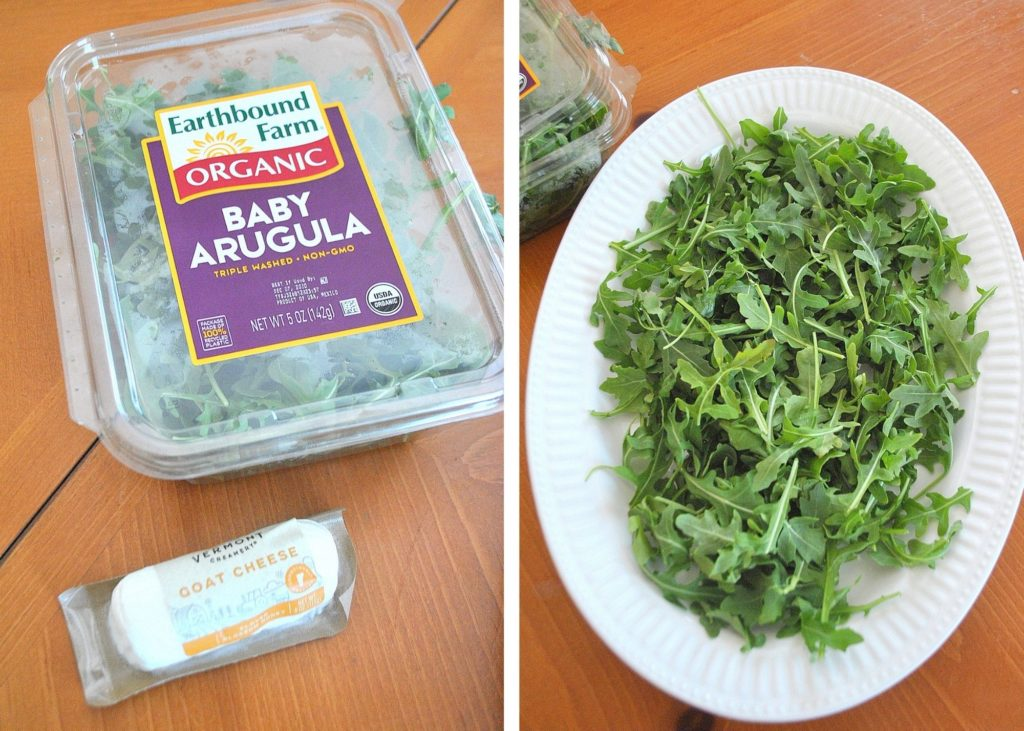 Photo of arugula scattered on a serving platter. by 2sistersrecipes.com