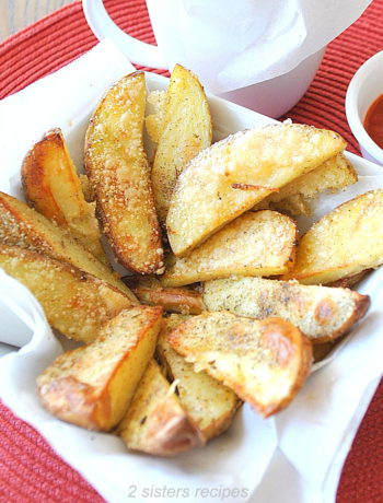 Parmesan Truffle Oil Potato Wedges by 2sistersrecipes.com