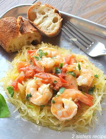 Spaghetti Squash with Shrimp by 2sistersrecipes.com