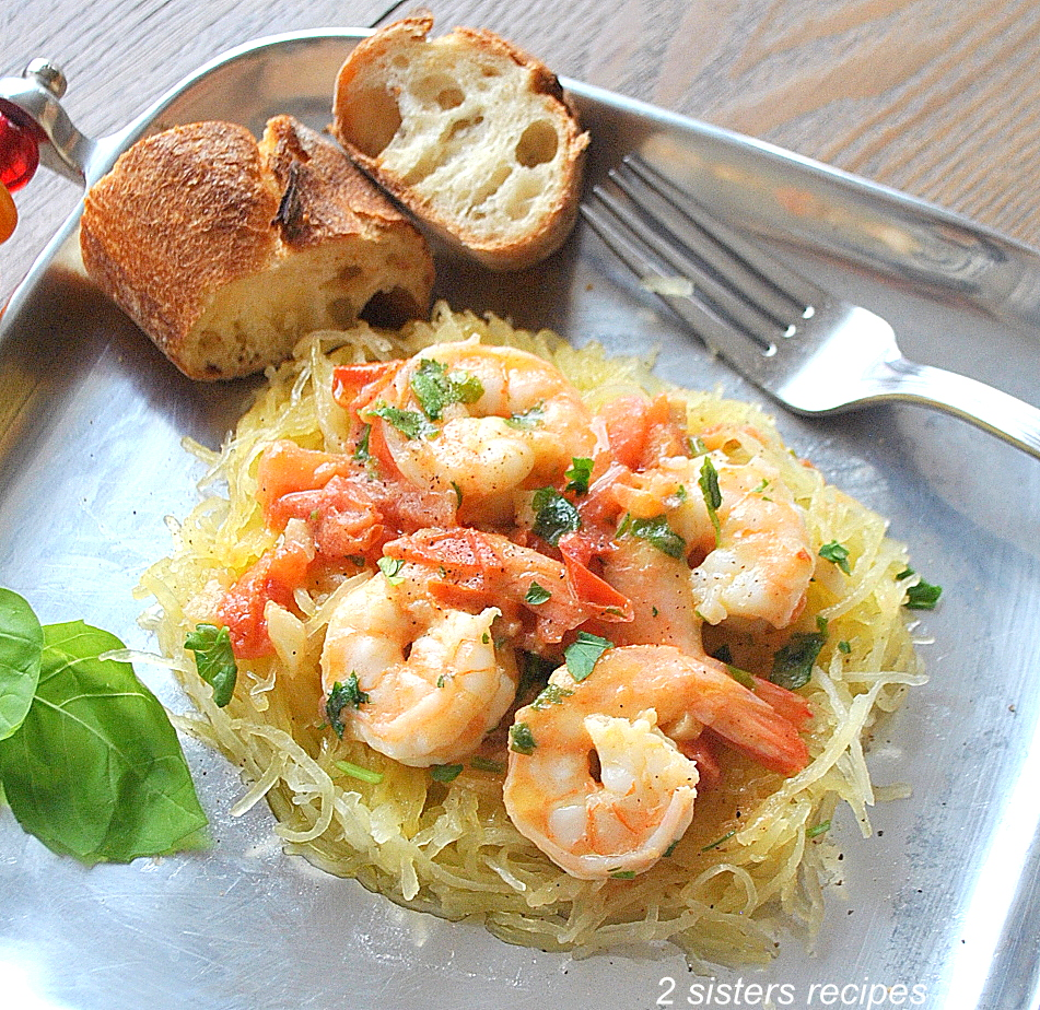 Spaghetti Squash with Shrimp by 2sistersrecipes.com