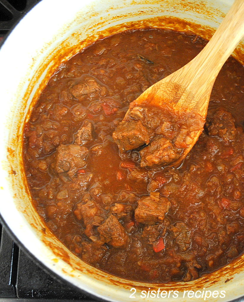 Photo of goulash in a Dutch Oven, by 2sistersrecipes.com