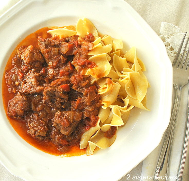 Traditional Hungarian Goulash by 2sistersrecipes.com