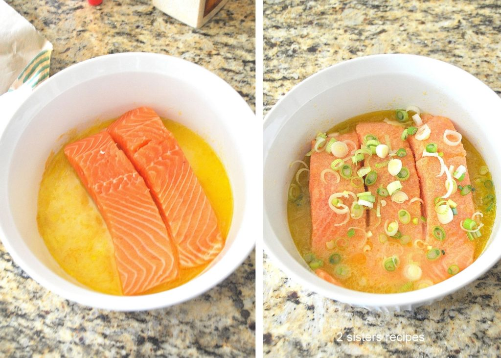 Photos of the marinade in a white bowl. by 2sistersrecipes.com