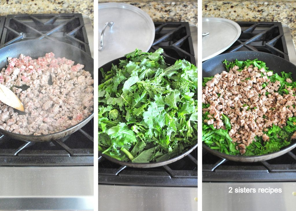 Steps to cooking sausages in a skillet with broccoli rabe. by 2sistersrecipes.com