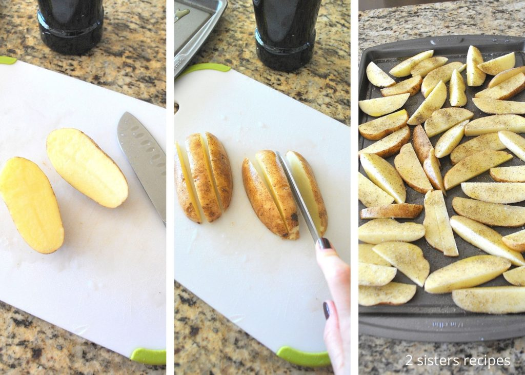 Photos of cutting potato into wedges by 2sistersrecipes.com