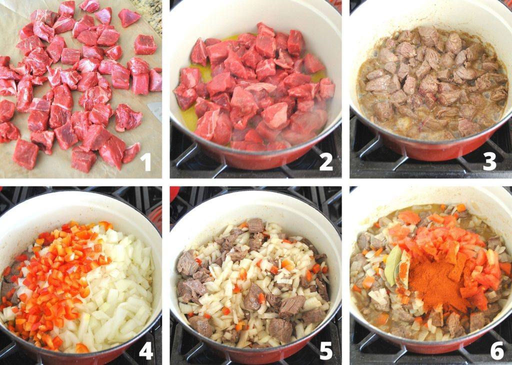 steps to prepping and making goulash by 2sistersrecipes.com