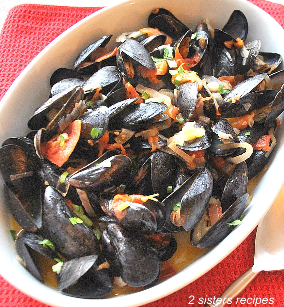 Perfect Mussels Provencale by 2sistersrecipes.com
