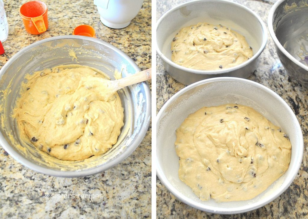 Photo fo the dough and divided into 2 baking pans. by 2sistersrecipes.com