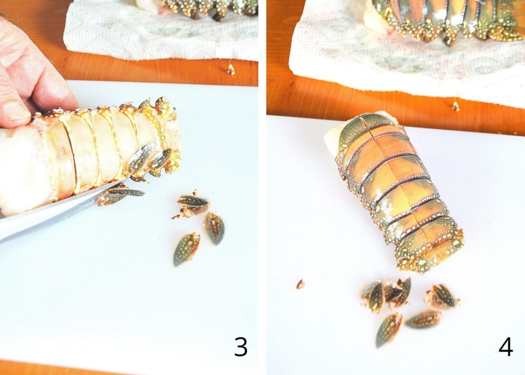 Steps to cutting lobster tails by 2sistersrecipes.com