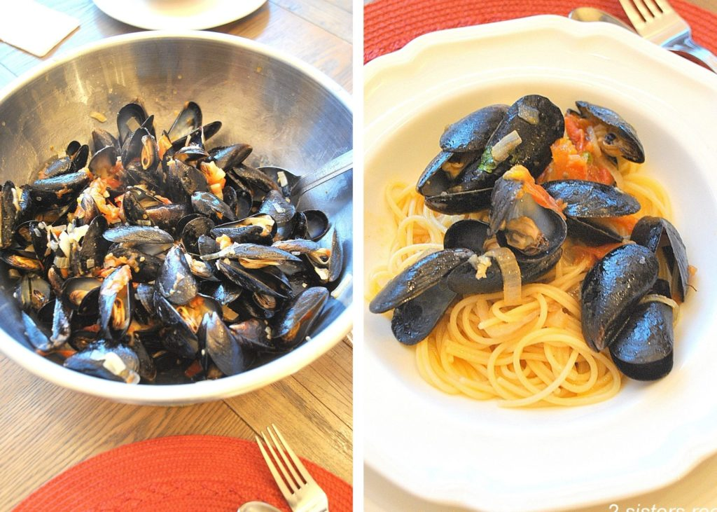 Photo of mussels in a bowl and over spaghetti. by 2sistersrecipes.com