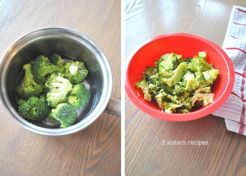 Photo of broccoli in a small pot. by 2sistersrecipes.com