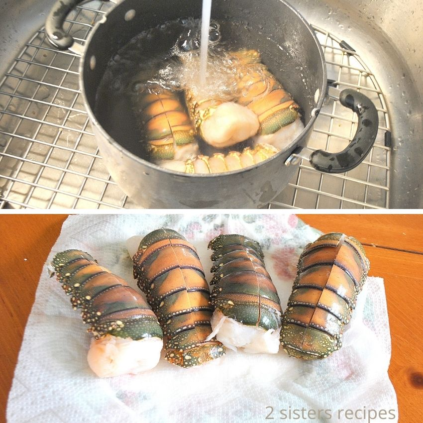 Running water over the lobster tails in a pot. by 2sistersrecipes.com