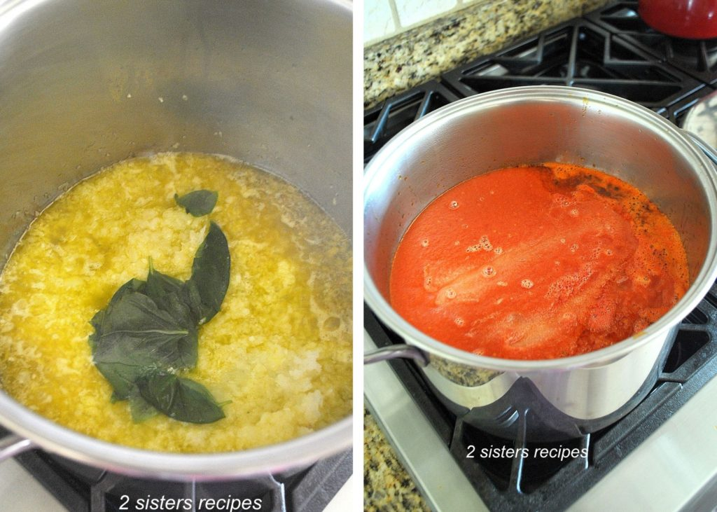 Fresh basil and tomatoes go into the pot.. by 2sistersrecipes.com