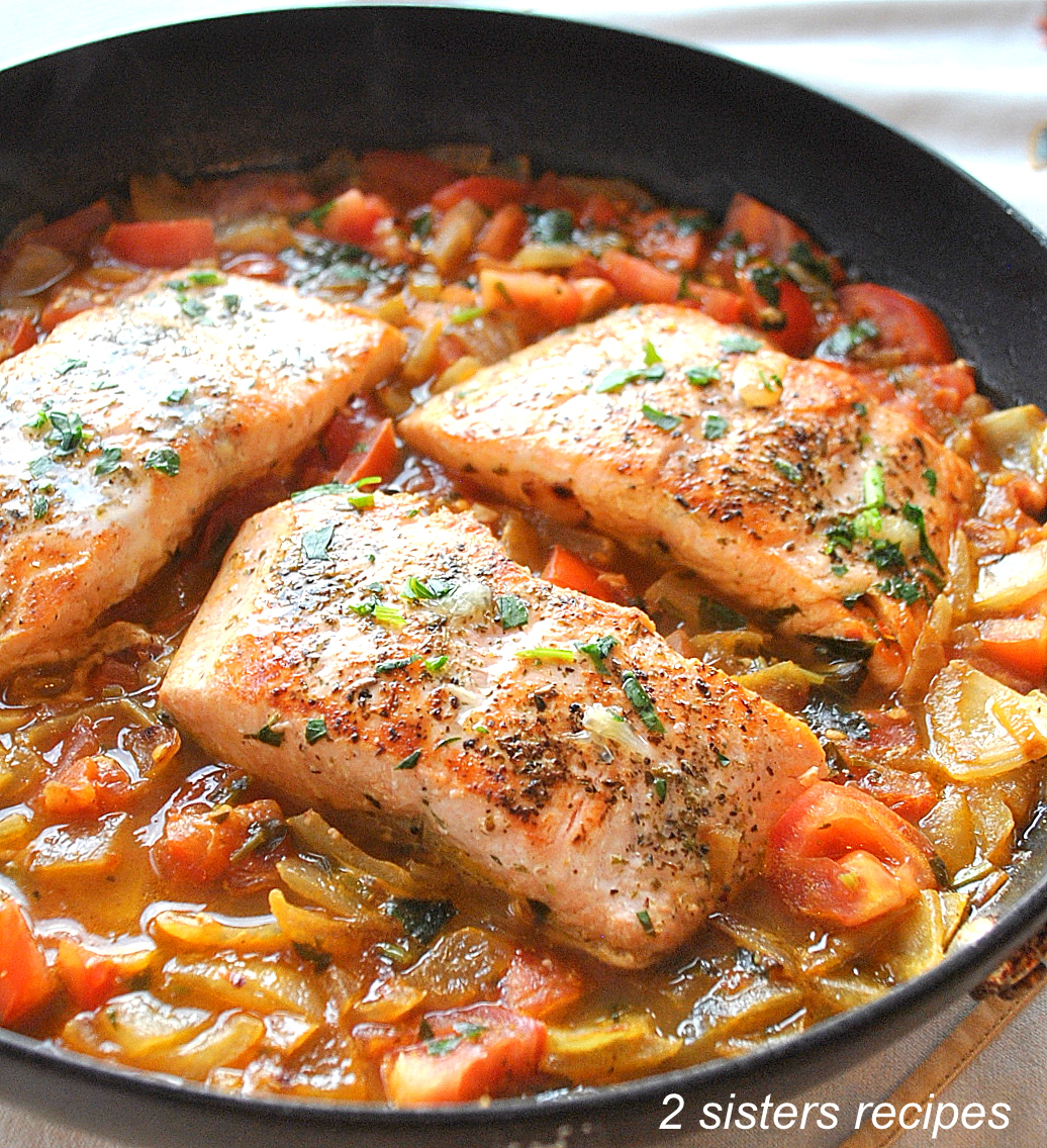 Pan-Seared Salmon with Tomato-Onion Relish by 2sistersrecipes.com