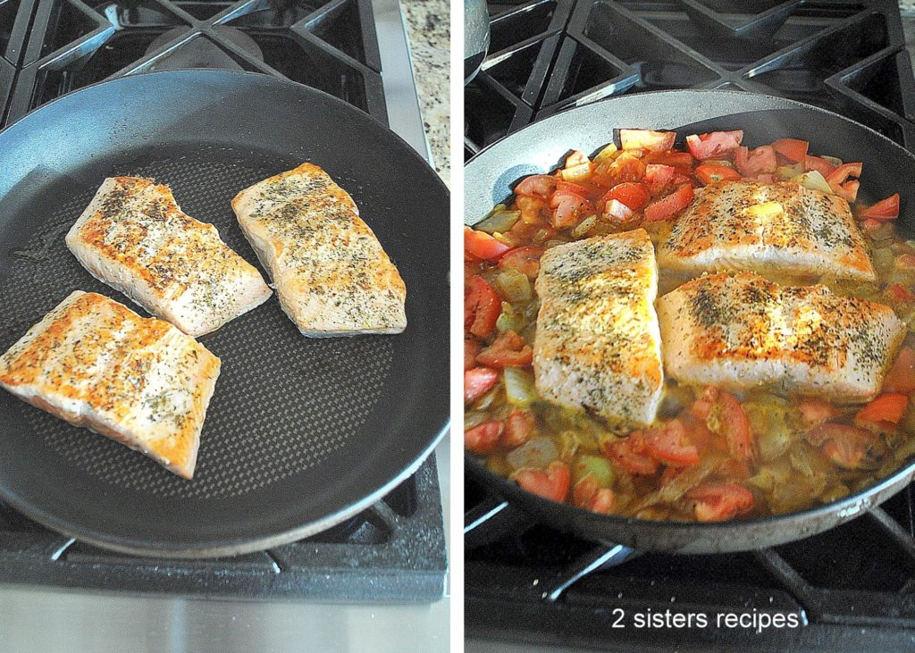 Salmon is seared in a skillet along with the sauce. by 2sistersrecipes.com