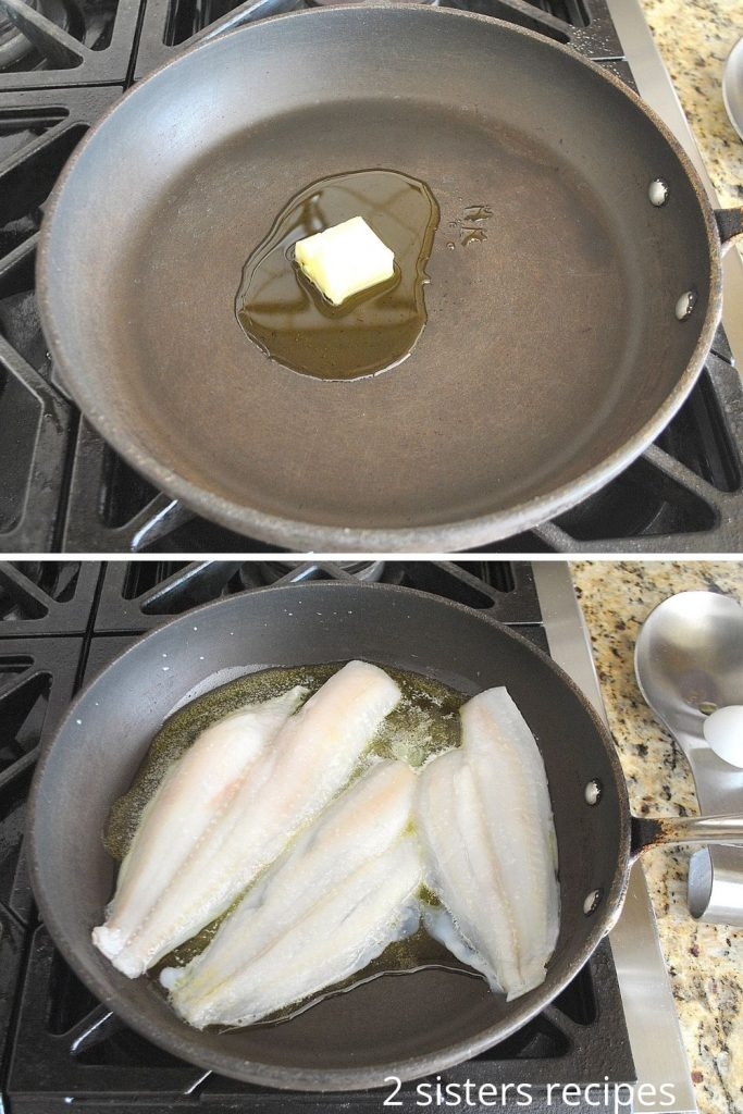 A skillet showing the butter, and the fillets. by 2sistersrecipes.com