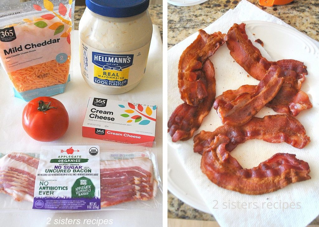 Photo of the ingredients and bacon fully cooked by 2sistersrecipes.com