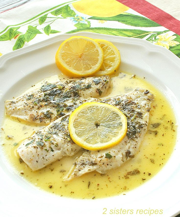 Flounder Fillet in Lemon Sauce by 2sistersrecipes.com