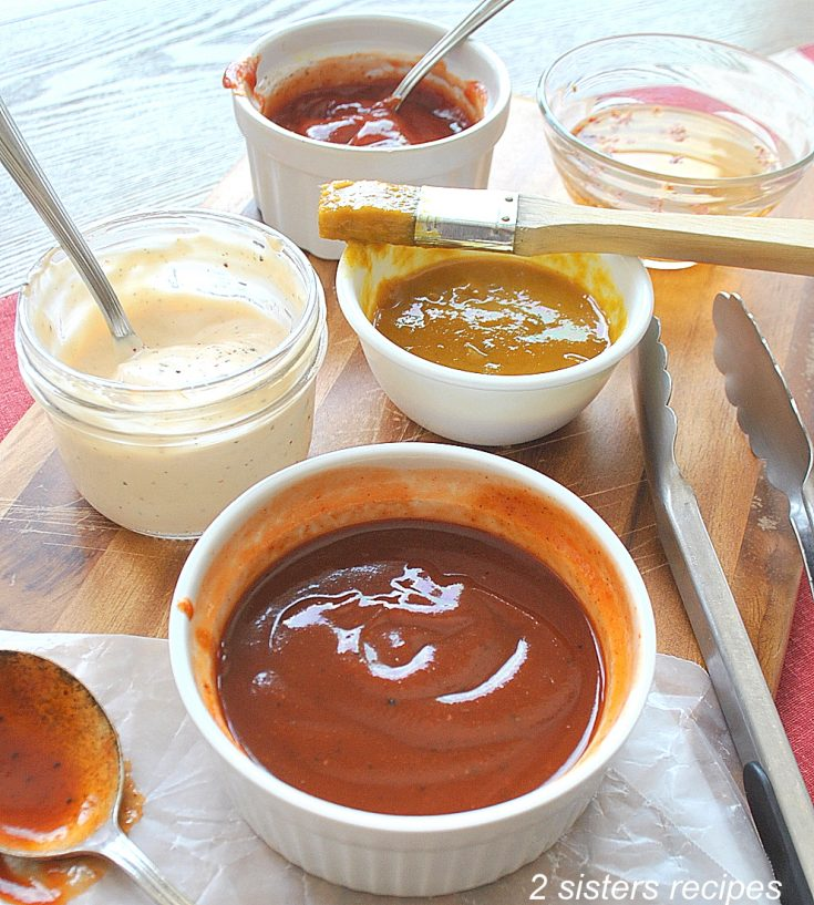 photo of small bowls of each sauce. by 2sistersrecipes.com