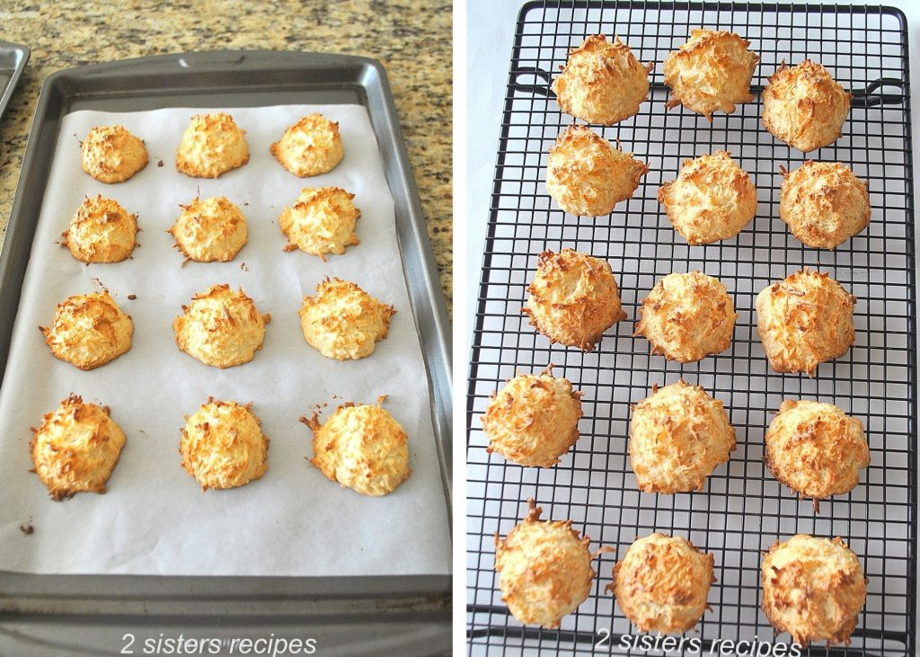 Baked Coconut Macaroons out of the oven. by 2sistersrecipes.com