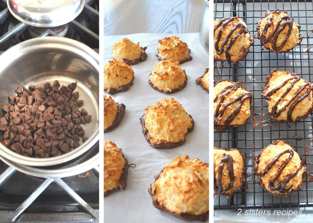 chocolate chips in a double boiler. and macaroons dipped in chocolate. by 2sistersrecipes.com