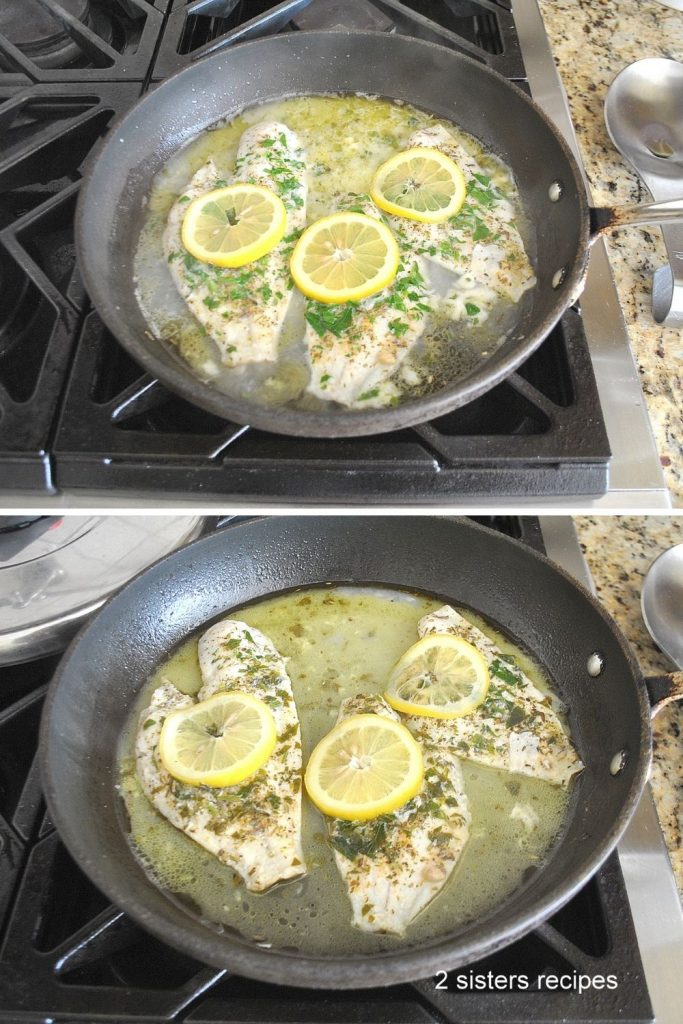 Cooking fillets with lemon sauce in skillet. by 2sistersrecipes.com