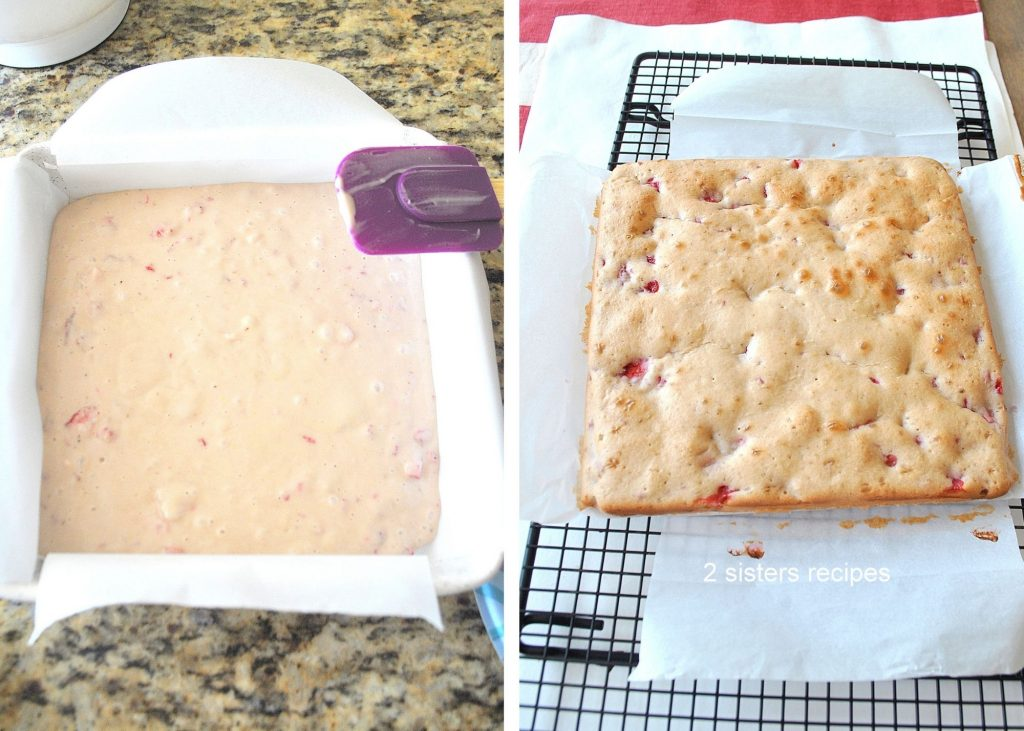 A photo of cake batter in square pan and a photo of fully baked cake. by 2sistersrecipes.com