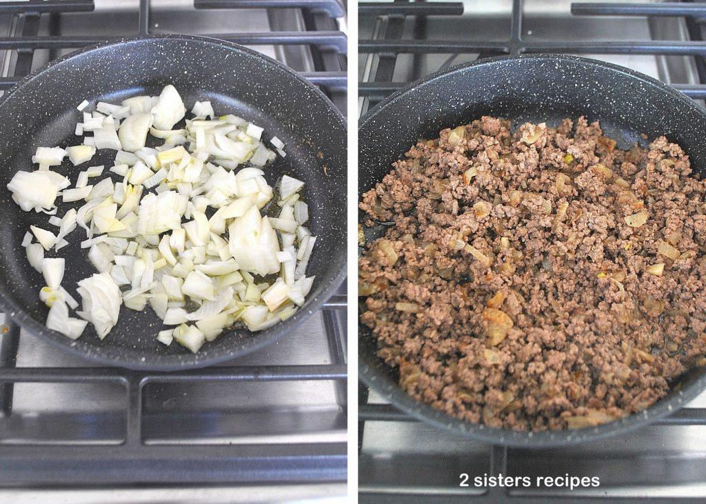 Photo of chopped onion and beef in a skillet. by 2sistersrecipes.com
