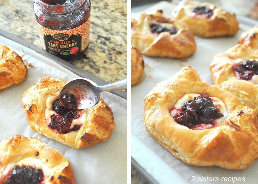 Adding a teaspoon of cherry preserves onto each pastry. by 2sistersecipes.com