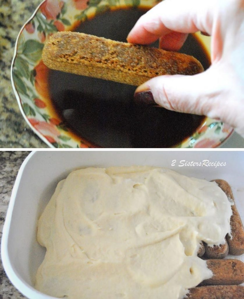 Dipping ladyfinger into a coffee mixture. by 2sistersrecipes.com