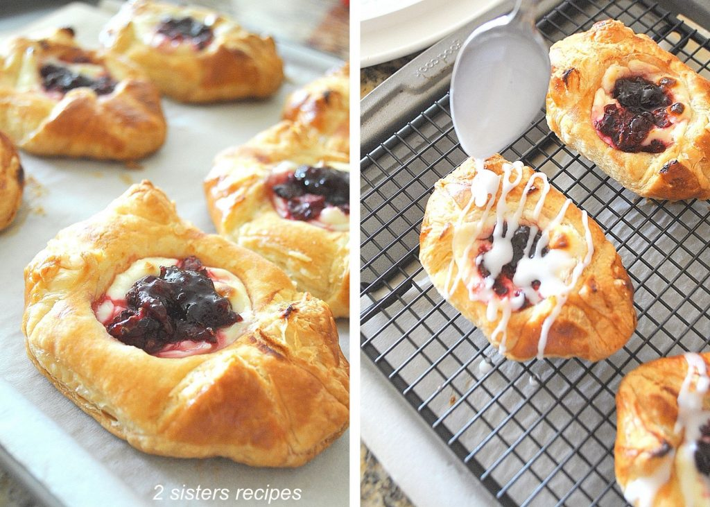 drizzling icing over each pastry. by 2sistersrecipes.com