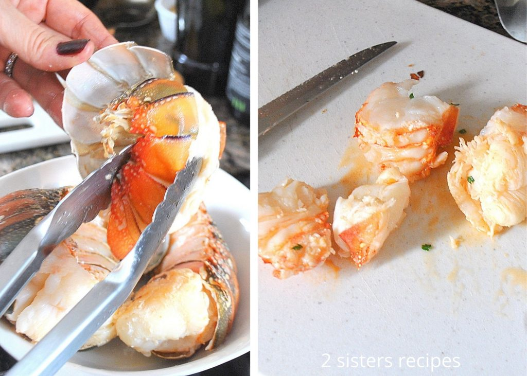 removing the lobster meat from their shells, on a cutting board. by 2sistersrecipes.com