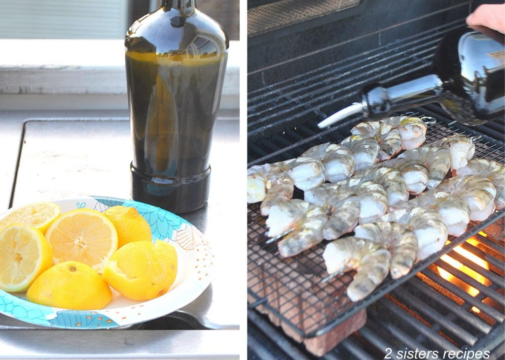Fresh lemons on a blue paper dish, and a photo of drizzling olive oil over the shrimp on the grill. by 2sistersrecipes.com