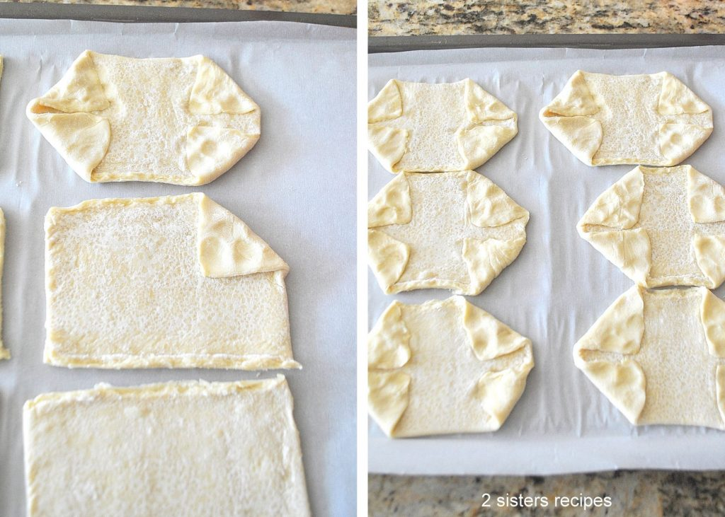 Puff pastry sheets shown with folded corners. by 2sistersrecipes.com