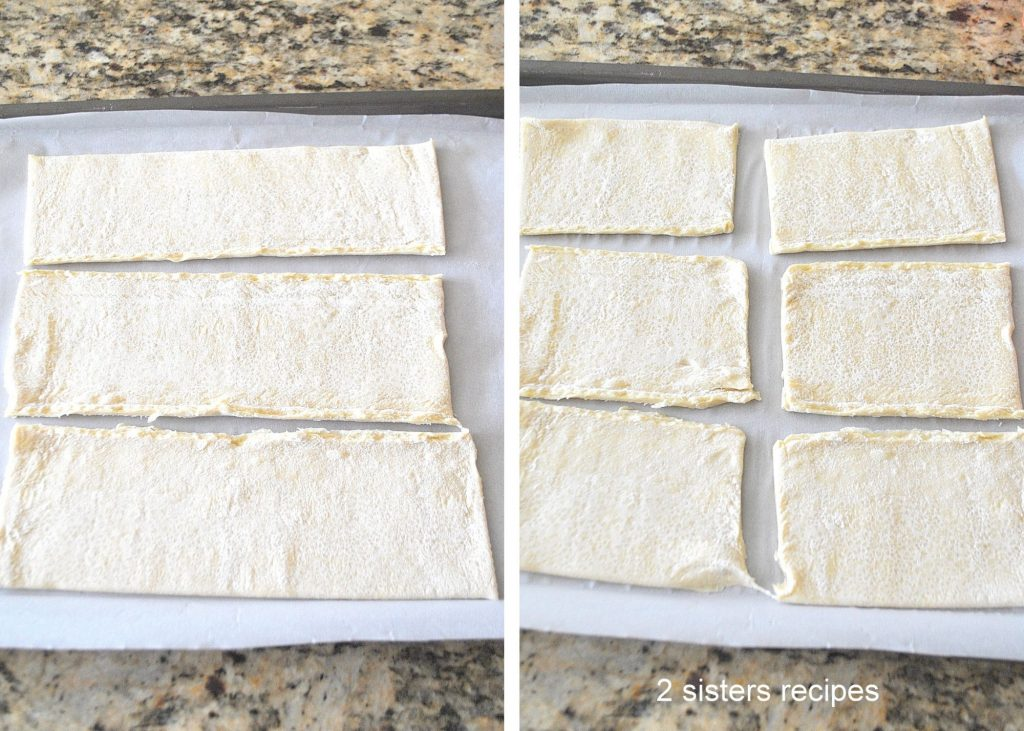Puff pastry sheet unfolded and cut into thirds, by 2sistersrecipes.com