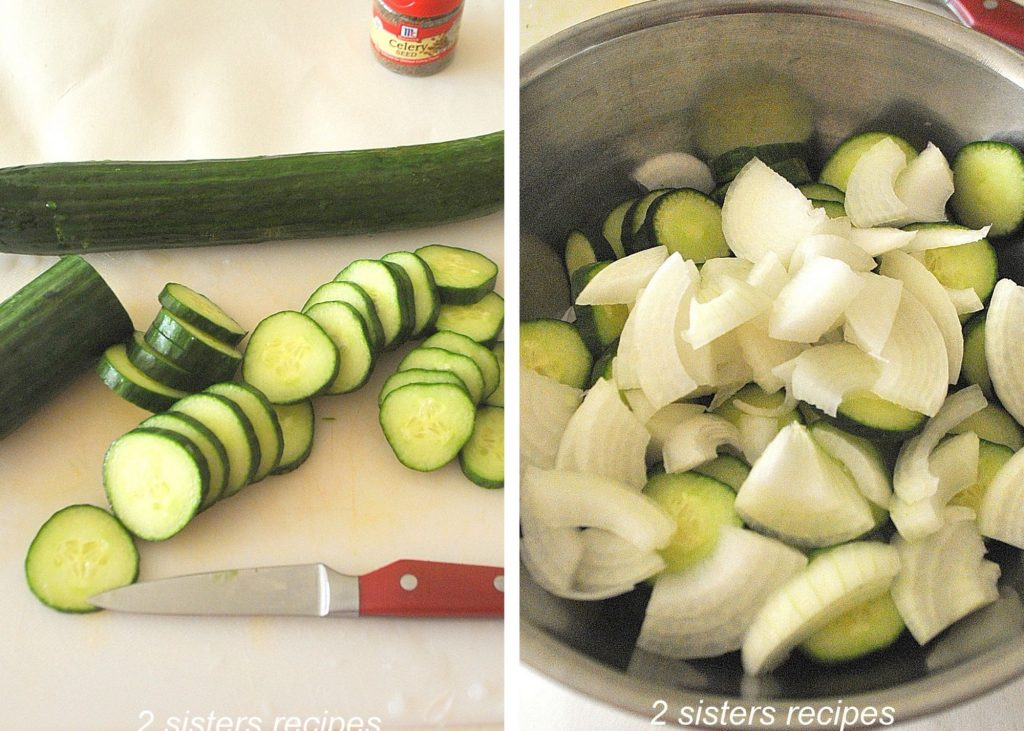 Sliced cucumbers and onion. by 2sistersrecipes.com