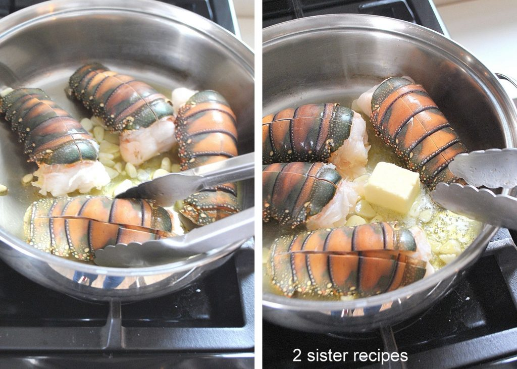 Lobster tails cooking in a deep pan. by 2sistersrecipes.com