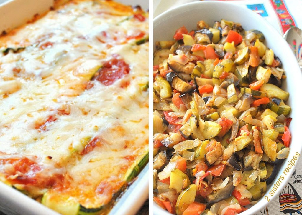 A photo of zucchini lasagna and the other of ratatouille. by 2sistersrecipes.com