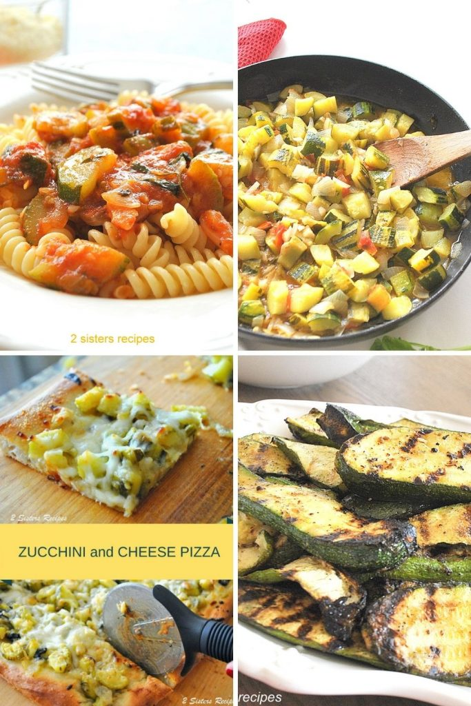 4 Photos of different zucchini dishes. by 2sistersrecipes.com