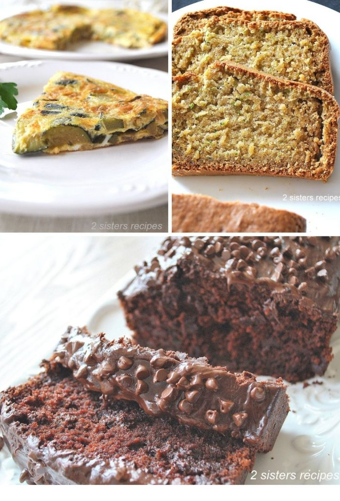 one photo of omelet, and the other two for zucchini breads. by 2sistersrecipes.com
