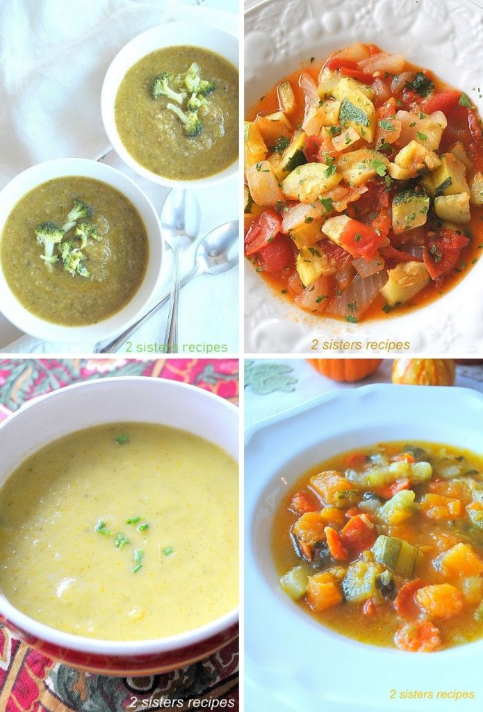 Four different photos of zucchini soups. by 2sistersrecipes.com