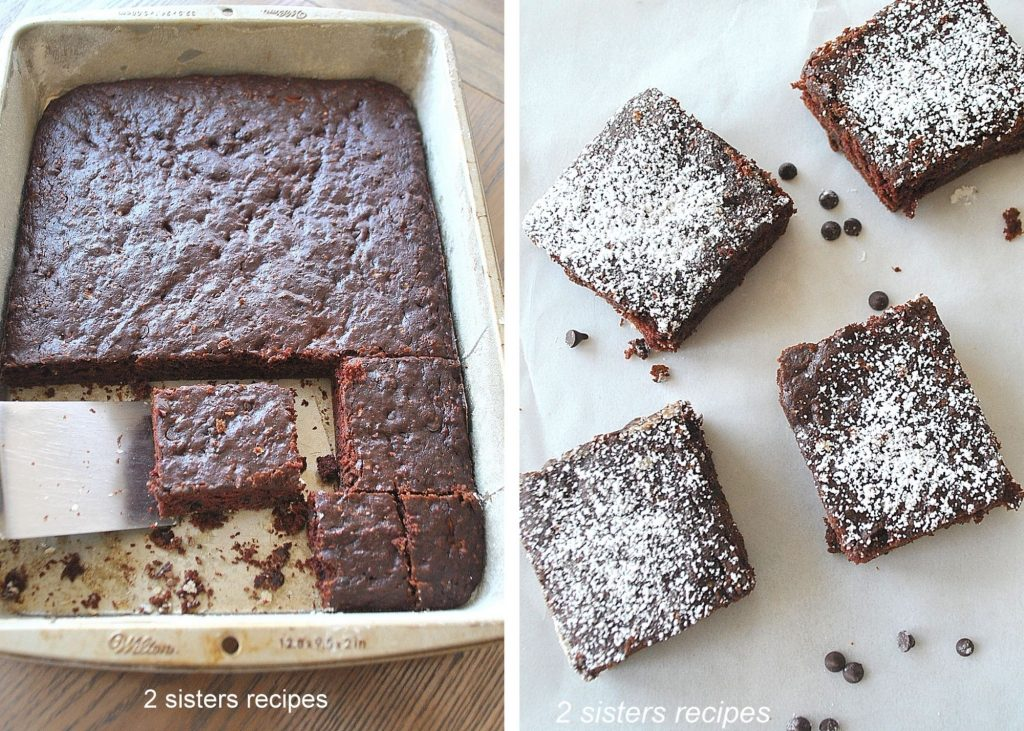 Photo of brownies cut into bars. by 2sistersrecipes.com