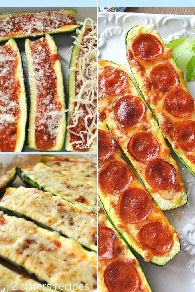 3 photos of zucchini boats. by 2sistersrecipes.com
