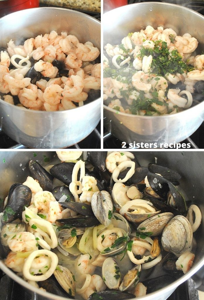 3 photos of mixed shellfish in the sauce pot. by 2sistersrecipes.com