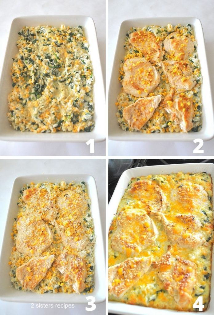 4 photos of the rice casserole with chicken added on top. by 2sistersrecipes.com