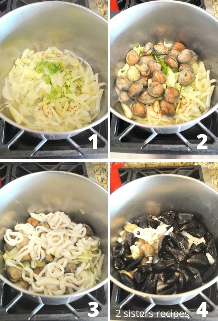 Steps to add in the fish into the stew. by 2sistersrecipes.com