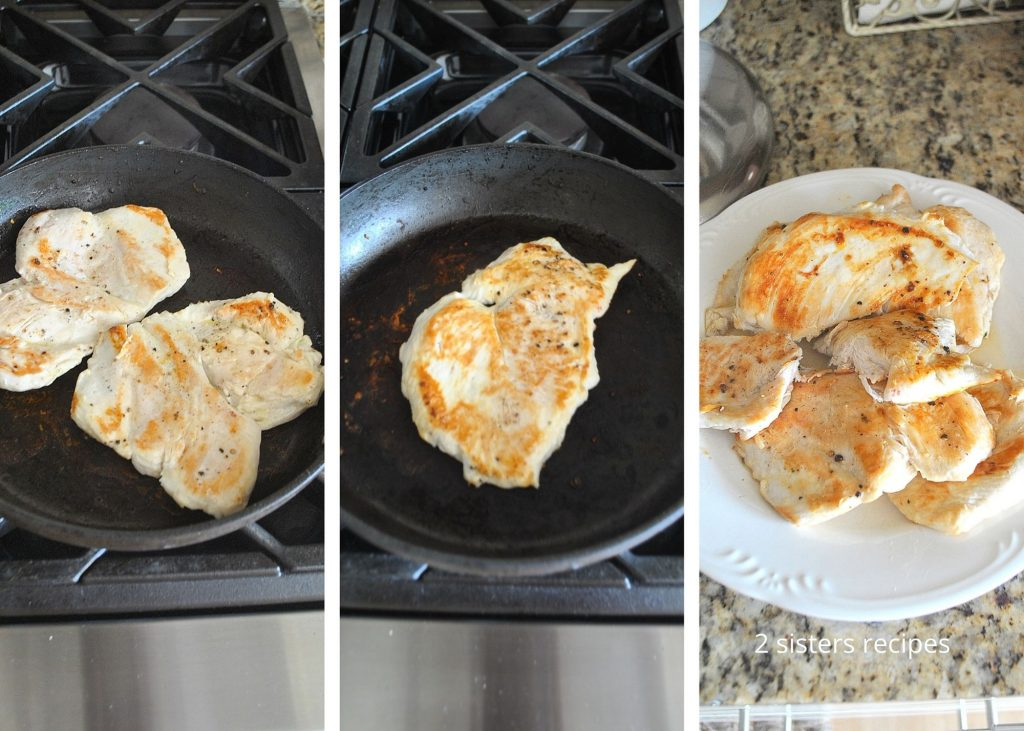 Grilling chicken in skillet. by 2sistersrecipes.com