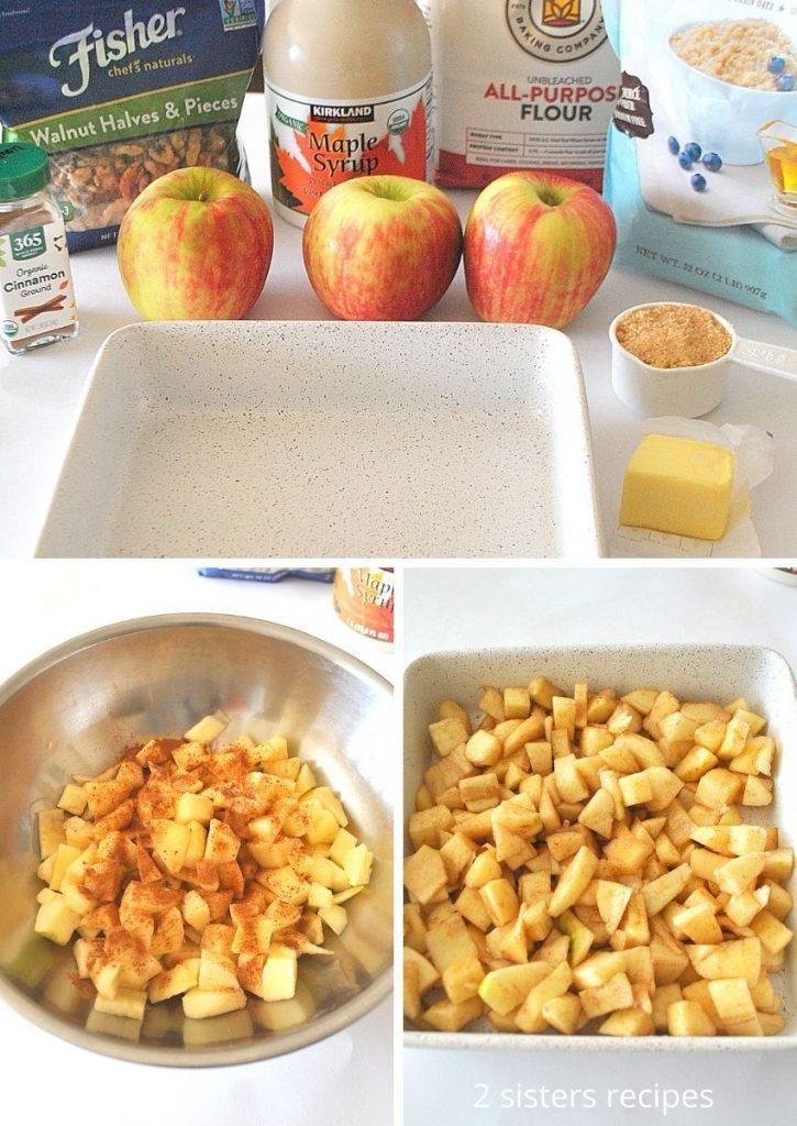 Ingredients for apple crisp. by 2sistersrecipes.com