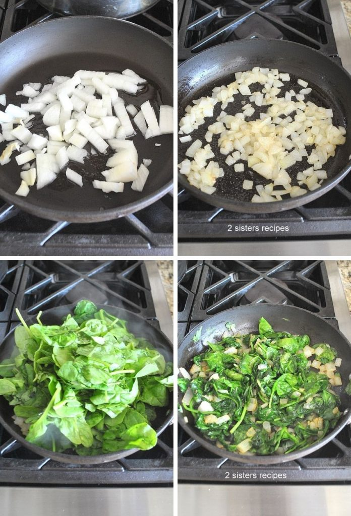 Steps to saute the onions and spinach